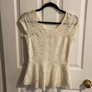 Candies Cream Lace Top
